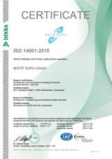 Certificate ISO 14001-2015