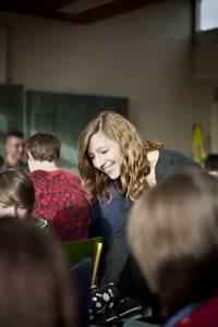 Bewerbertraining in einer Klasse der Partnerschule