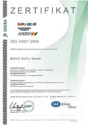 ZERTIFIKAT ISO 14001:2004