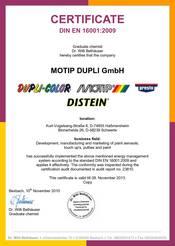 Certificate DIN EN 16001:2009